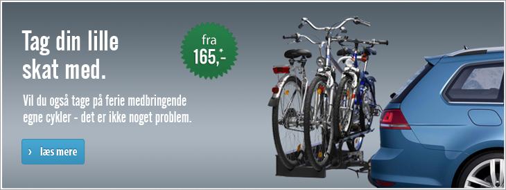 Tag din lille skat med. Vil du også tage på ferie medbringende egne cykler - det er ikke noget problem.